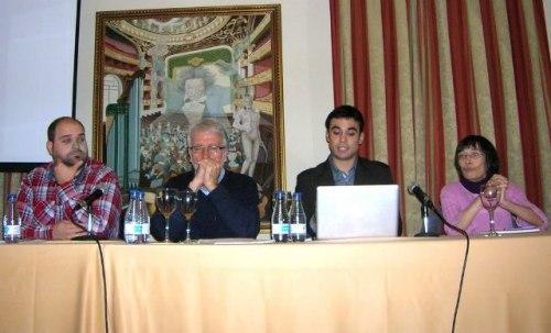 De izqda. a dcha: Juan Carlos Pérez Bustos, Fernando Múgica, Pablo Conde y Alicia Vallejo en la mesa debate (FOTO: Marcos Lizano)