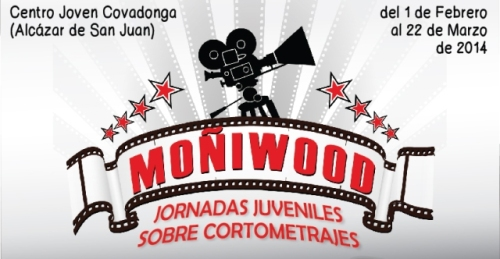 """Logo y fechas de los talleres de cine para jóvenes """"Moñiwood"""" en Alcázar de San Juan (DISEÑO: Colectivo 5)"""