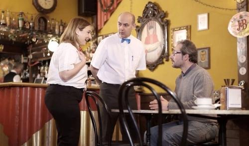 """Los actores Felicidad Torres, Pablo Paniagua y Ezequiel Ransanz en el cortometraje """"Café Irlandés"""", seleccionado en el V FECICAM"""