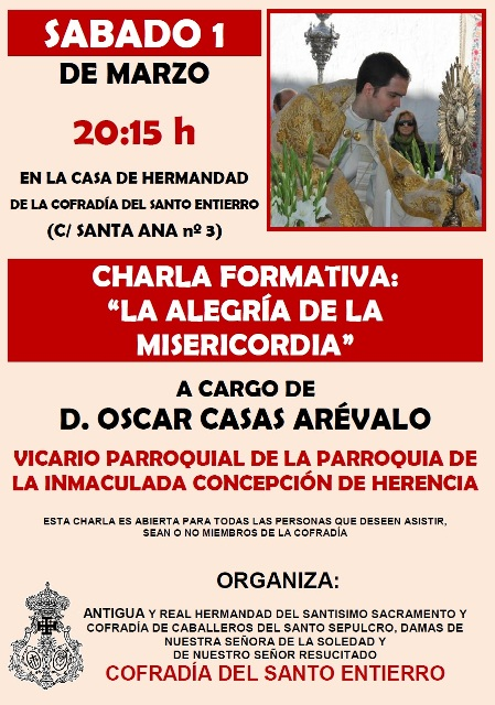 CARTEL CHARLA SOBRE MISERICORDIA OSCAR CASAS - marzo 2014
