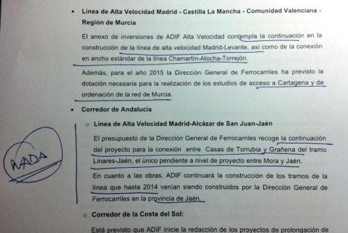 Explicaciones del Ministerio de  Fomento en el cuaderno resumen de inversiones