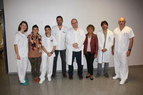 Decana (3d) con la Dirección de Enfermería