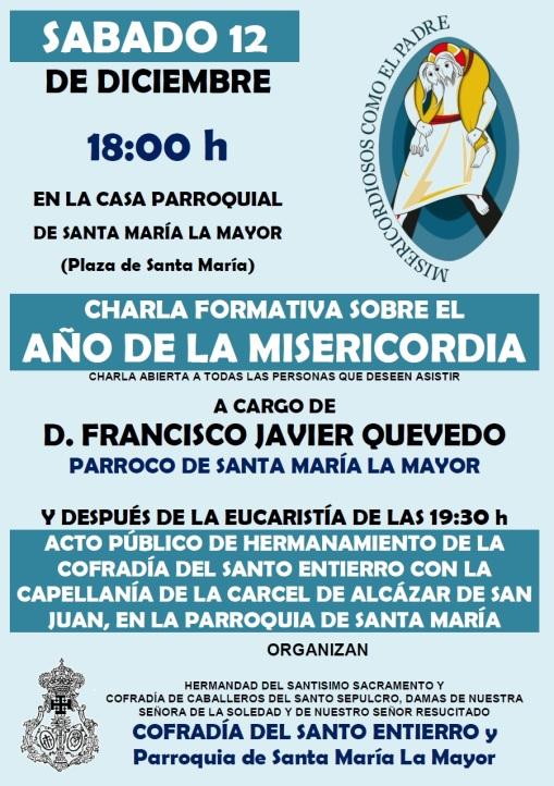 CARTEL CHARLA SOBRE AÑO DE LA MISERICORDIA y HERMANAMIENTO CAPELLANIA CARCEL